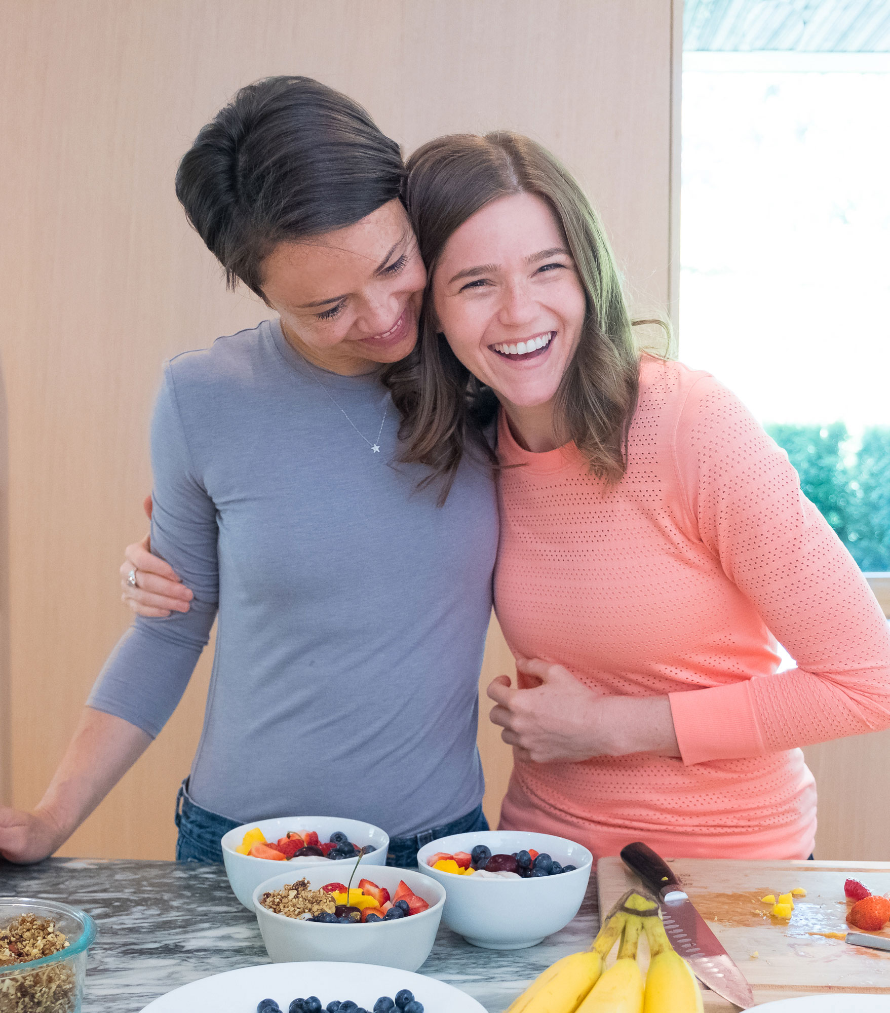 Nikki and Zuzana in the kitchen creating plant-based recipes