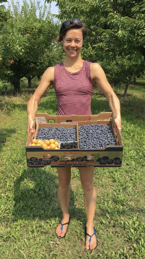 Zuzana with fresh plant-based fruit Okanagan BC