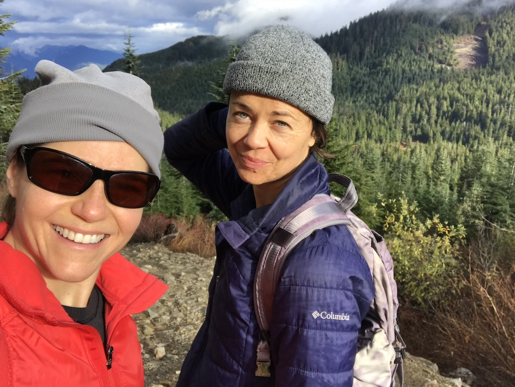 Nikki and Zuzana hiking in British Columbia Nature mountains plant powered athlete