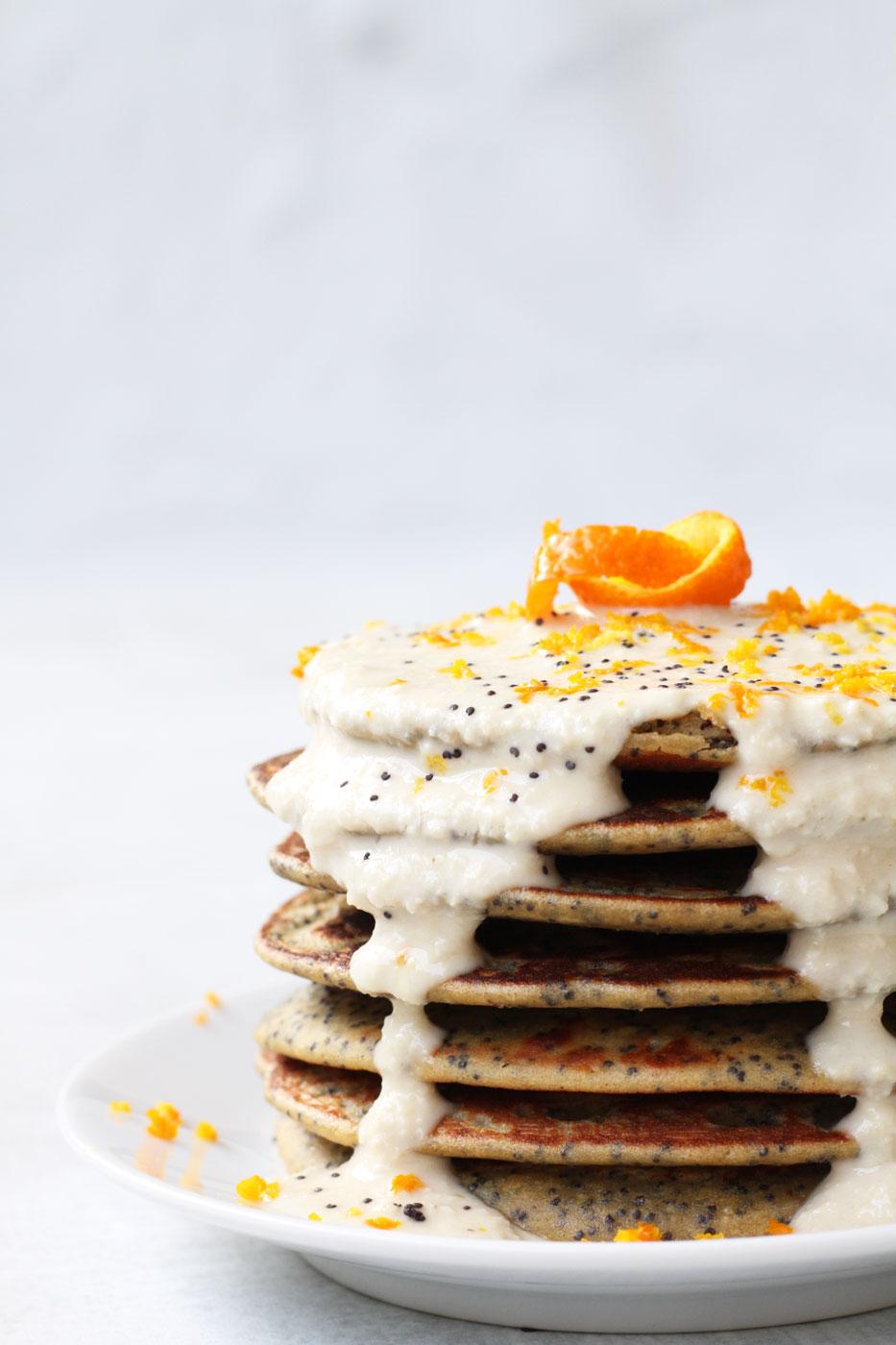 Vegan Orange Poppyseed Quinoa Pancakes - high in plant-based protein